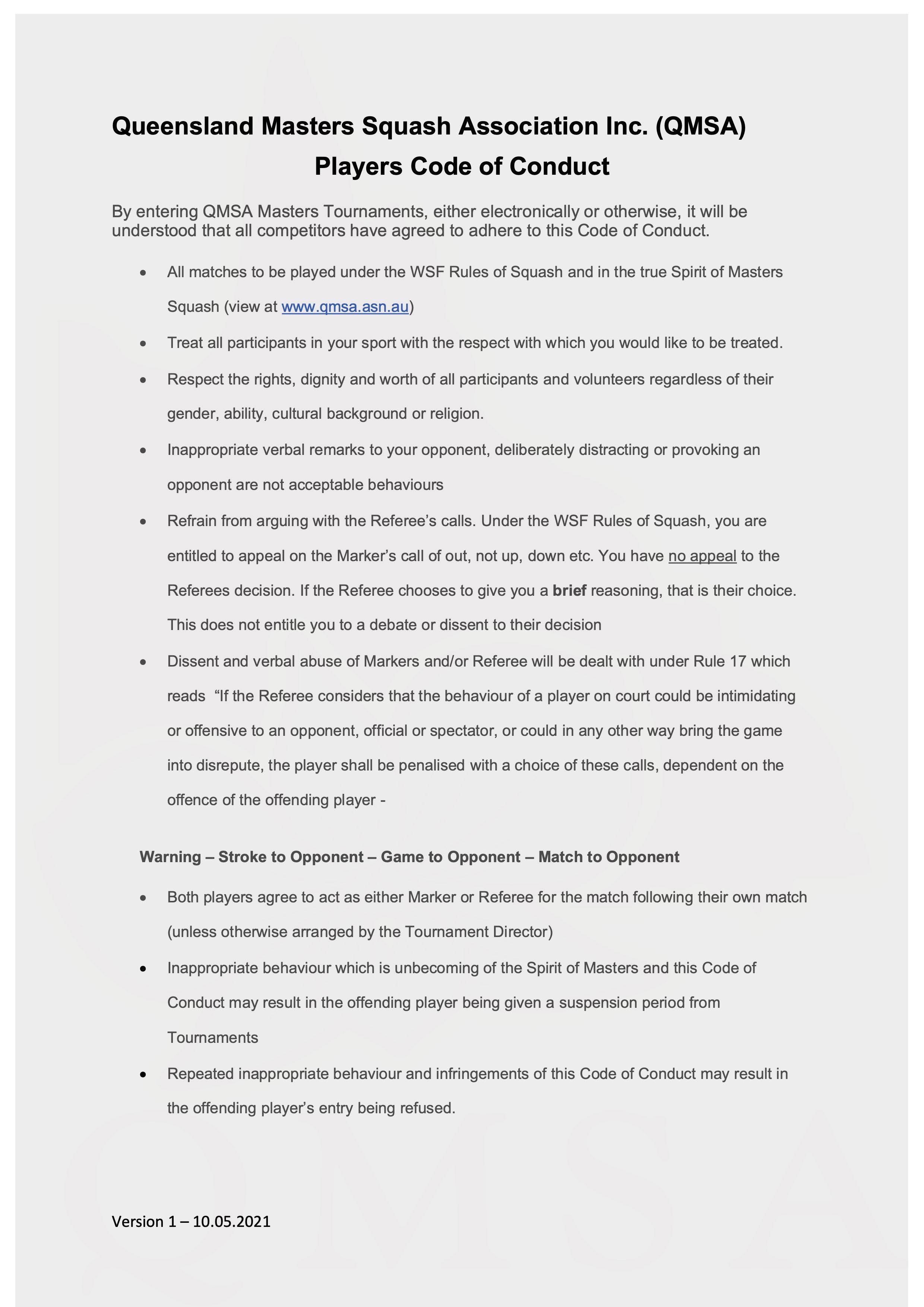 QMSA Code of Conduct